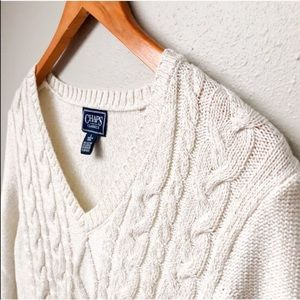 Cream Shimmer Cable Knit Sweater